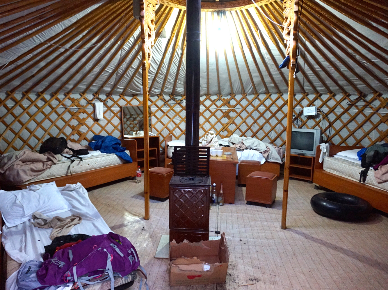 The inside of our ger in Terelj (forgive the mess).