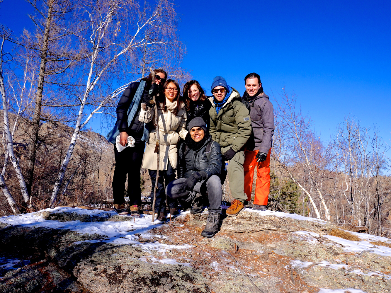 Mountaintop group shot in Terelj