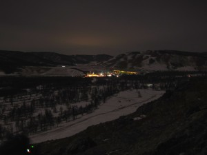 A night view of the Terelj tourist area from a nearby mountain, light enhanced