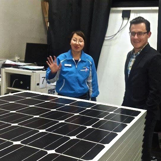 With one of Kiva's partners, XacBank, I toured a solar panel factory that XacBank's eco-banking department was considering partnering with.